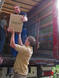 LKW laden für den Transport
