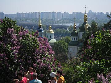 Botanischer Garten Kiew Blick auf Kloste Widubidski